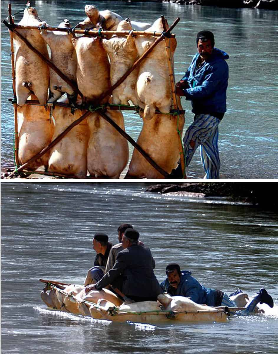 Locals using a home made raft