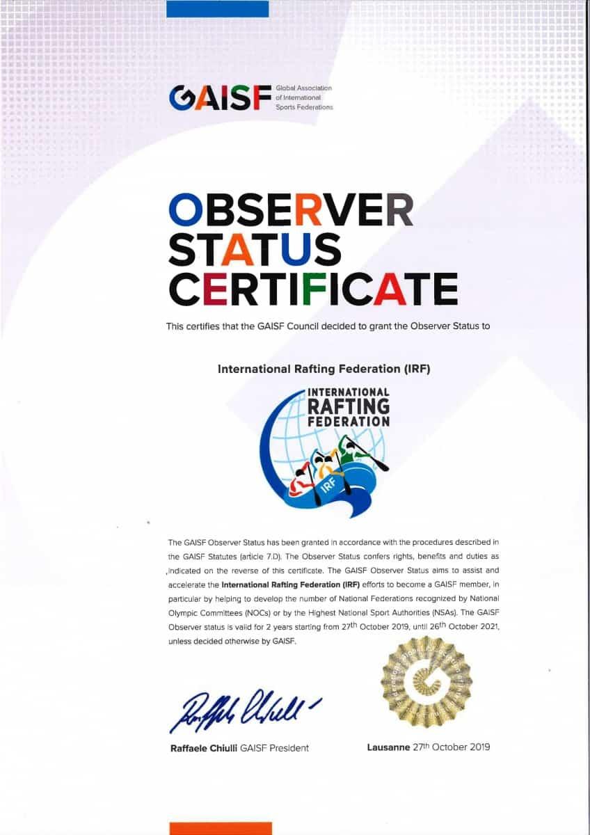 GAISF Observer Status certificate